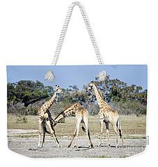 Weekender Tote Bag featuring the photograph Necking Giraffes Botswana by Liz Leyden