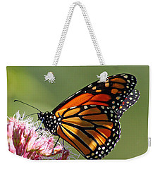 Weekender Tote Bag featuring the photograph Nectaring Monarch Butterfly by Debbie Oppermann