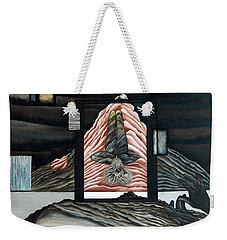 Weekender Tote Bag featuring the painting Negative Ion by Fei A