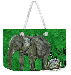 Weekender Tote Bag featuring the digital art Nelly The Elephant by Pennie  McCracken