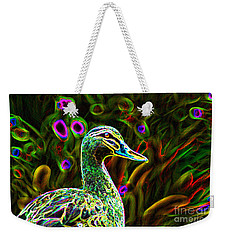 Neon Duck Weekender Tote Bag by Naomi Burgess