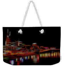 Neon Nashville Skyline At Night Weekender Tote Bag by Dan Sproul