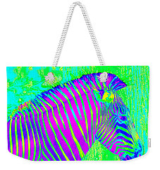 Neon Zebra 2 Weekender Tote Bag by Jane Schnetlage