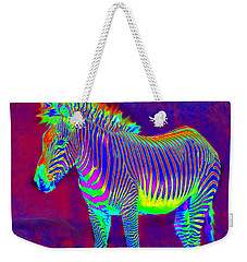 Neon Zebra Weekender Tote Bag by Jane Schnetlage