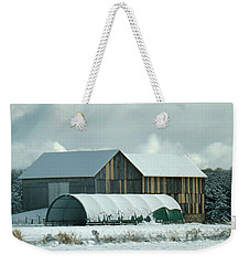 Weekender Tote Bag featuring the photograph New And Old Barn Planks by Brenda Brown