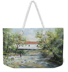 Weekender Tote Bag featuring the painting New Jersey's Last Covered Bridge by Katalin Luczay
