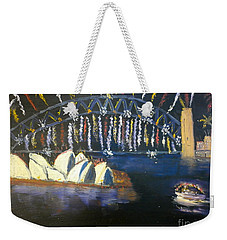 Weekender Tote Bag featuring the painting New Year Eve On Sydney Harbour by Pamela  Meredith