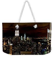 New York At Night Panorama Weekender Tote Bag