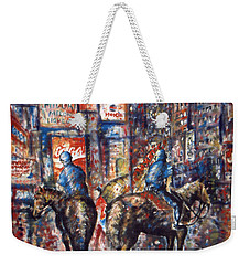 New York Broadway At Night - Oil On Canvas Painting Weekender Tote Bag