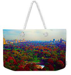 Weekender Tote Bag featuring the photograph New York City Central Park South by Tom Jelen