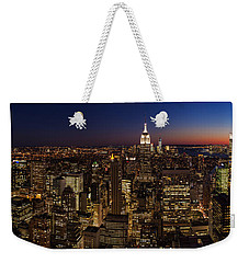 New York City Skyline At Dusk Weekender Tote Bag by Mike Reid