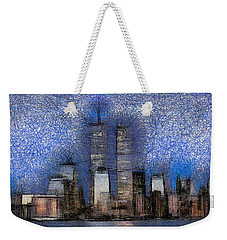 New York City Blue And White Skyline Weekender Tote Bag