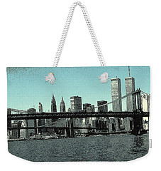 New York Downtown Manhattan Skyline - Blue Panorama Weekender Tote Bag