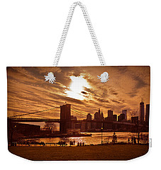 Weekender Tote Bag featuring the photograph New York Skyline And Brooklyn Bridge -- Late Afternoon by Mitchell R Grosky