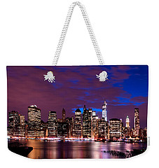 Weekender Tote Bag featuring the photograph New York Skyline Magic Hour-- From Brooklyn Heights Promenade by Mitchell R Grosky