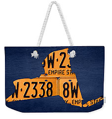 New York State License Plate Map Weekender Tote Bag by Design Turnpike