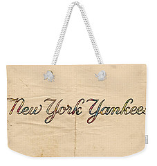 New York Yankees Logo Vintage Weekender Tote Bag by Florian Rodarte