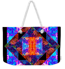Weekender Tote Bag featuring the painting Newly Formed Bliss Mandala Artwork by Omaste Witkowski