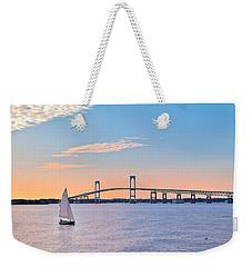 Newport Bridge Twilight Sunset With Sailboat Rhode Island Usa Weekender Tote Bag