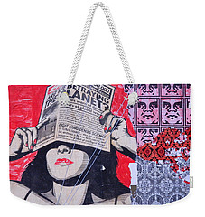 Weekender Tote Bag featuring the photograph Shepard Fairey Graffiti Andre The Giant And His Posse Wall Mural by Kathy Barney