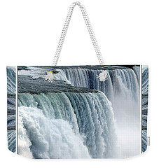 Weekender Tote Bag featuring the photograph Niagara Falls American Side Closeup With Warp Frame by Rose Santuci-Sofranko