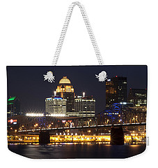 Weekender Tote Bag featuring the photograph Night Descends Over Louisville City by Deborah Klubertanz