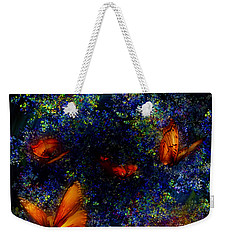 Weekender Tote Bag featuring the digital art Night Of The Butterflies by Olga Hamilton