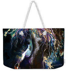 Weekender Tote Bag featuring the painting Night Stallion by Sherry Shipley