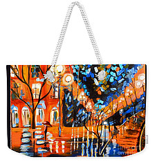 Night Village Rain Weekender Tote Bag