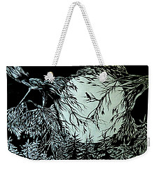 Weekender Tote Bag featuring the drawing Nightingale Song. Part Three by Anna  Duyunova