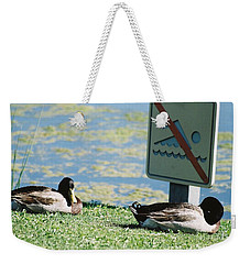 Weekender Tote Bag featuring the photograph No Swimming by Kerri Mortenson