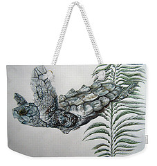 Weekender Tote Bag featuring the drawing Norman Blue by Mayhem Mediums