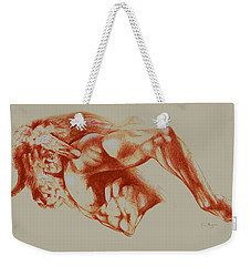 North American Minotaur Red Sketch Weekender Tote Bag by Derrick Higgins