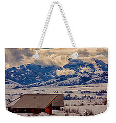 Weekender Tote Bag featuring the painting North Cascades Mountain View by Omaste Witkowski