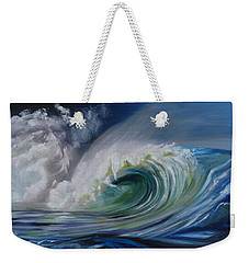 Weekender Tote Bag featuring the painting North Shore Curl by Donna Tuten