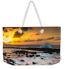 North Shore Sunset Crashing Wave Weekender Tote Bag