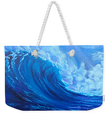 Weekender Tote Bag featuring the painting Wave V1 by Jenny Lee