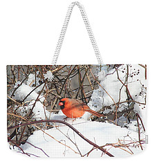 Northern Cardinal Weekender Tote Bag by Karen Silvestri