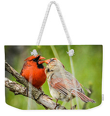Northern Cardinal Male And Female Weekender Tote Bag