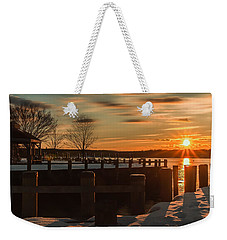 Northport New York Winter Sunset Weekender Tote Bag