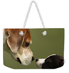Nose To Nose Dogs 2 Weekender Tote Bag by Linsey Williams