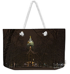 Notre Dame Golden Dome Snow Weekender Tote Bag by John Stephens