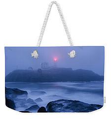 Nubble Light In Foggy Dawn Weekender Tote Bag