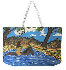 Weekender Tote Bag featuring the painting Nude And Bareback Swim by Jeffrey Koss
