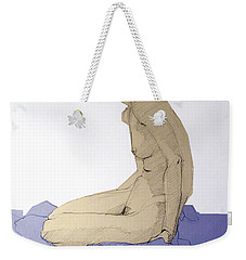 Weekender Tote Bag featuring the drawing Nude Figure In Blue by Greta Corens