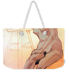 Weekender Tote Bag featuring the drawing Nude Woman Leaning On A Barstool by Greta Corens