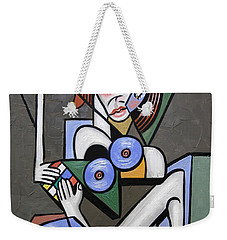 Weekender Tote Bag featuring the painting Nude Woman With Rubiks Cube by Anthony Falbo