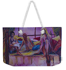 Weekender Tote Bag featuring the painting Nudes Reading by Avonelle Kelsey