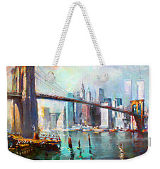 Ny City Brooklyn Bridge II Weekender Tote Bag by Ylli Haruni