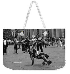 Weekender Tote Bag featuring the photograph Ny City Street Performer by Angela DeFrias